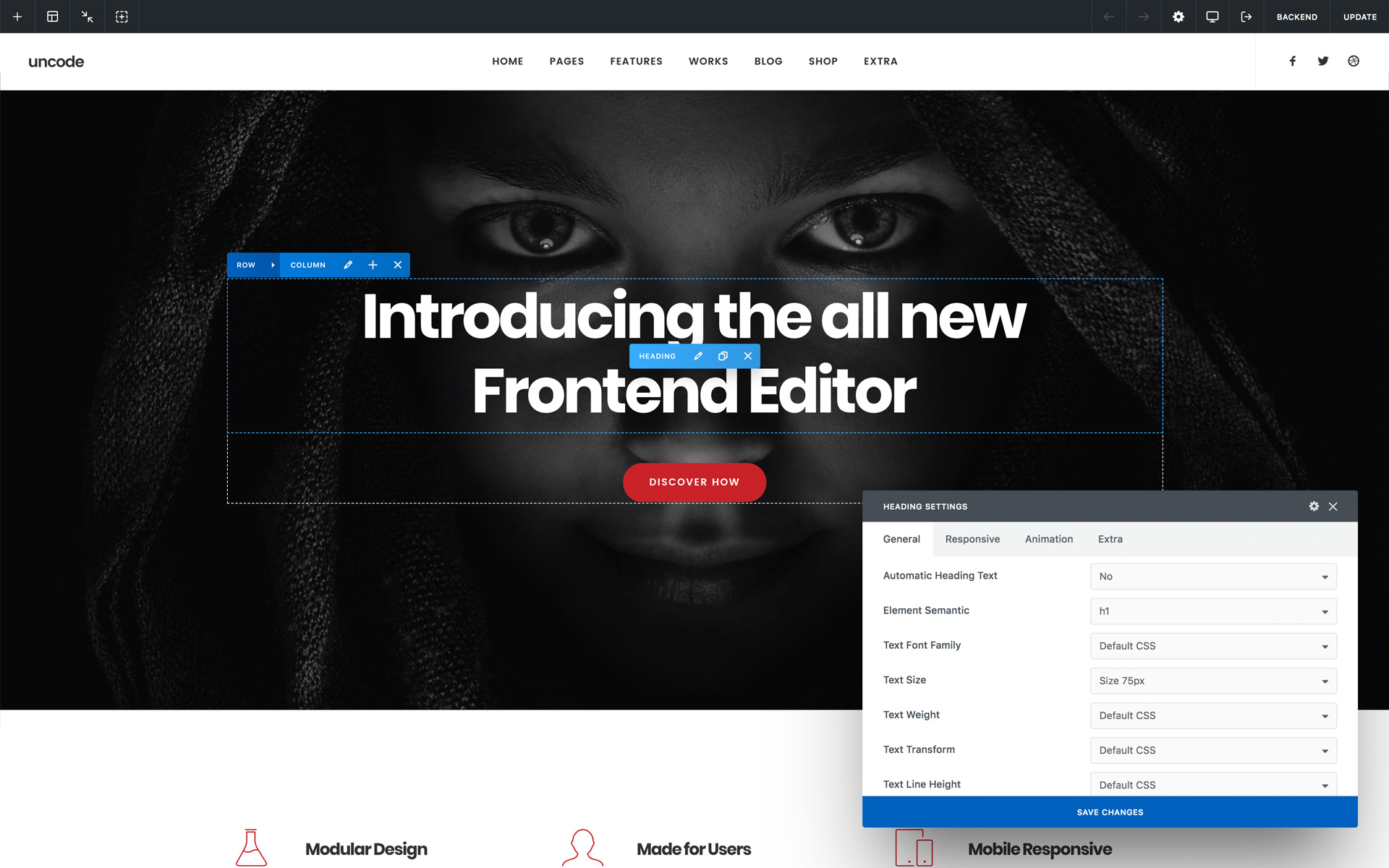 Uncode Frontend Editor